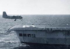 Tracker landing on HMCS Bonaventure